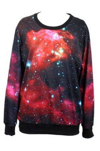 Autumn Hot Sale Long Sleeve Galaxy Tees For Girls