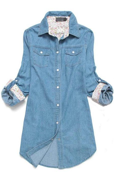 Cool Red Floral Print Sleeved Denim Shirt