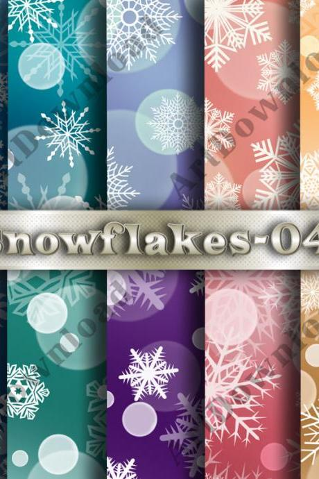 Snowflakes digital scrapbooking Paper, Printable Christmas Snowflakes, Set for Personal and Commercial Use