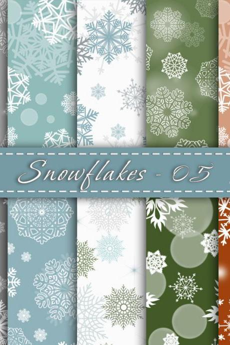 Snowflakes digital paper, Christmas Snowflakes, Digital snowflanes , for Personal and Commercial Use
