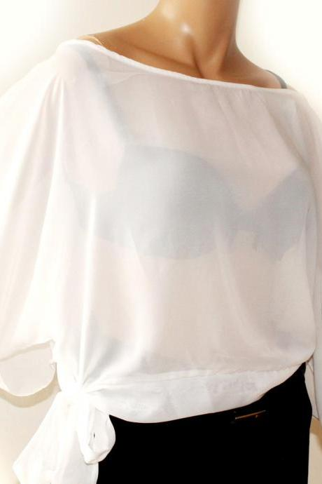White Sexy Chiffon / vacation/beach/summer/ blouse/top