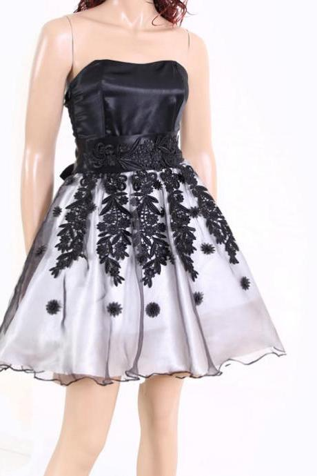 Black and White Lace organza cocktail / bridesmaid /prom / evening dress