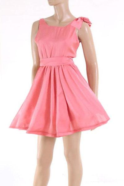 Plus Size Bridesmaid/ Wedding party/ Cocktail / Evening Coral Satin dress