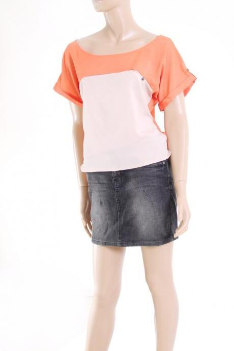 orange / beige casual top ,women's blouse