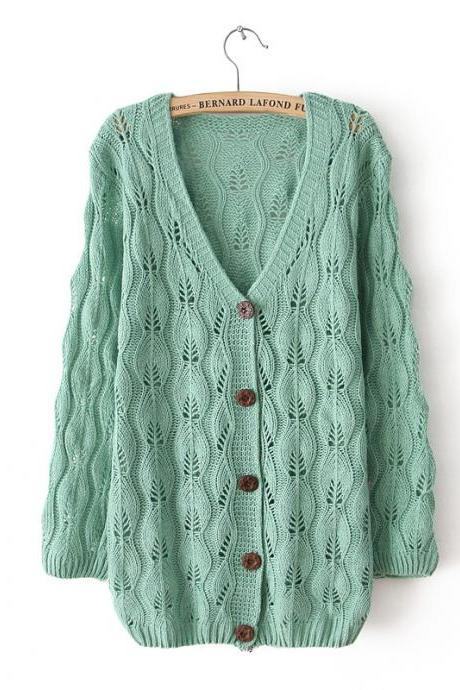 Fresh Green Leaves Hollow Out knit &Cardigan