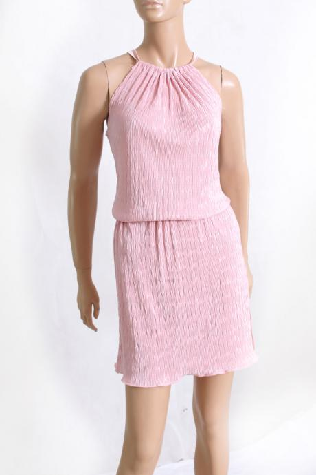 Halter Sundress,blush plisse dress/ Romantic / summer dress