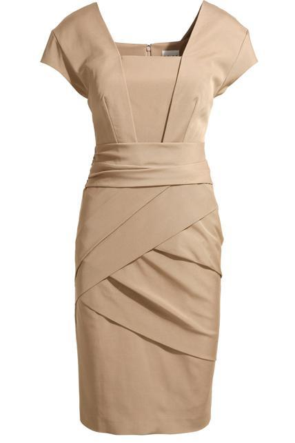 European Style Solid Color Square Neck Sheath Dress - Figure