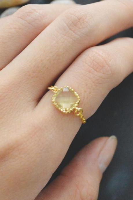 E-011 Lemon Square Glass ring, Gold Frame ring, Chain ring, Simple ring, Modern ring, Gold plated ring/Everyday/Gift/