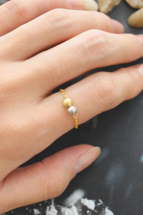 E-021 Metal bead ring, Beads ring, Chain ring, Simple ring, Modern ring, Rhodium and Gold plated ring/Everyday/Gift/