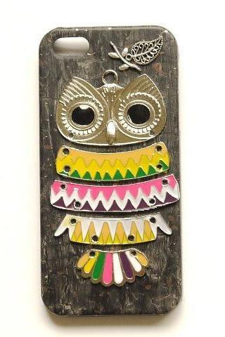 Silver Owl Black Wooden Pattern Leather Case For Iphone 5 5S