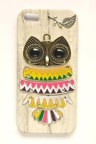 Bronze Owl White Wooden Pattern Leather Case For Iphone 5 5S