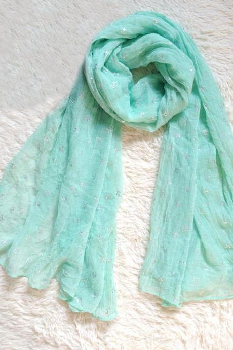 Fresh Anchors Infinity Green Scarf