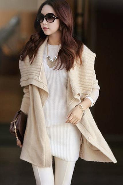 Korean Style Woman Long Sleeve Cardigan Sweater - Apricot
