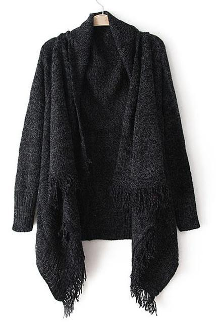 Woman Baggy Sweater Cardigans with Tassel Decoration - Black
