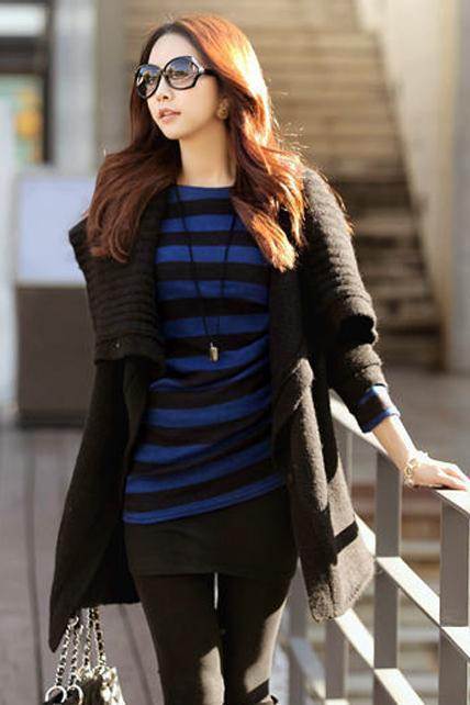 Korean Style Woman Long Sleeve Cardigan Sweater - Black