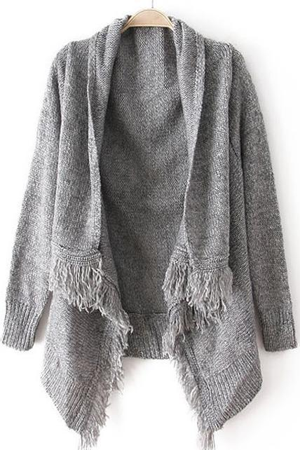 Woman Baggy Sweater Cardigans with Tassel Decoration - Grey