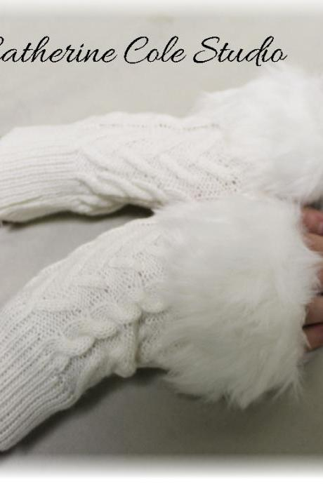 SNUGGLE LOVE fur trimmed Snowball white fingerless gloves arm warmers great for stocking stuffers Holiday gifts under 20 by Catherine Cole Studio FG1