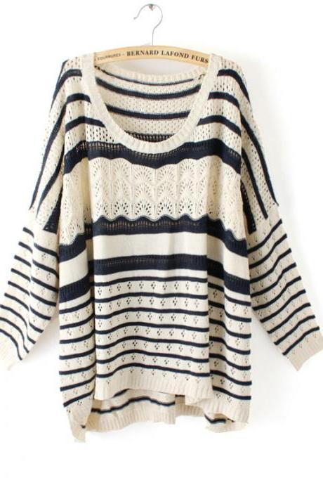 Fashion New Woman Stripe Print Batwing Sleeves Sweater