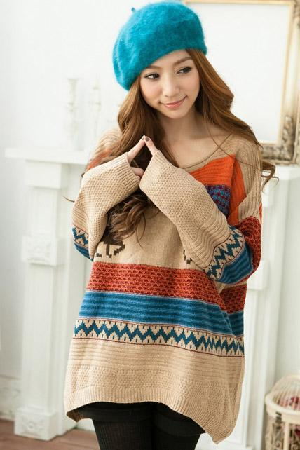 Loose Round Neck Long Sleeve Fawn Print Knitting Wool Long Pullovers - Khaki