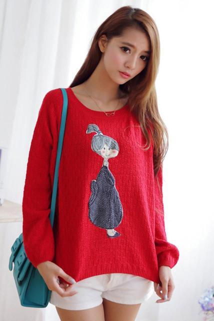 Winter Cute Girls Print Long Sleeve Pullovers Sweater
