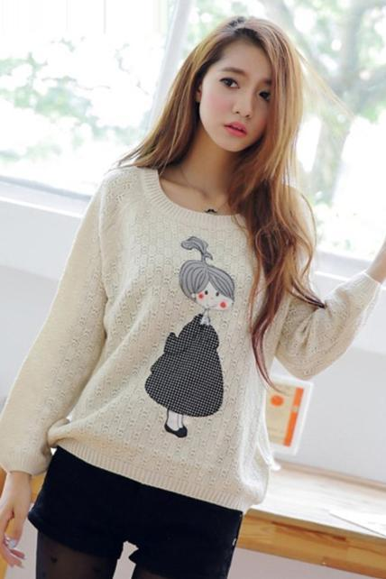 Winter Cute Girls Print Long Sleeve Pullovers Sweater - White