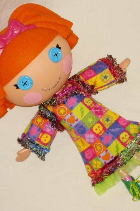 Lalaloopsy Doll Clothes, Handmade Hearts and Skulls Dress for Large 13 Inch Doll