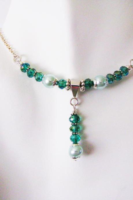 Neptune's Daughter Necklace Pearl Choker Necklace Teal Necklace Swarovski Crystal Necklace