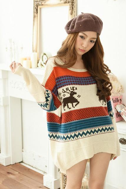 Loose Round Neck Long Sleeve Fawn Print Knitting Wool Long Pullovers - Beige