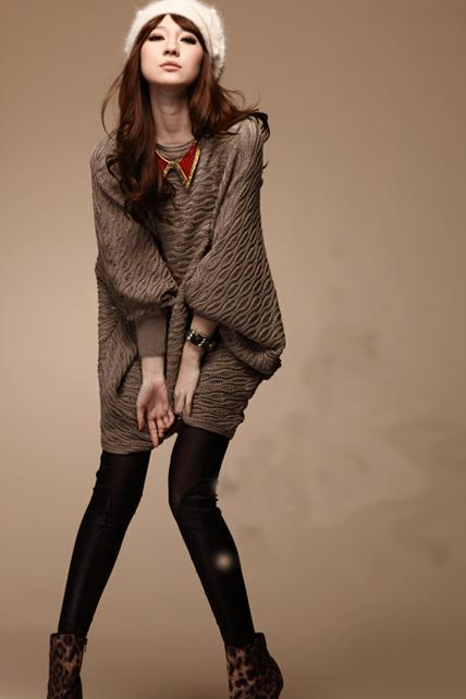 Fashion Loose Woman Round Neck Batwing Sleeve Pullovers