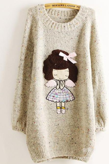 Cute Little Girl Pattern Loose Round Neck Batwing Sleeve Sweater - Beige