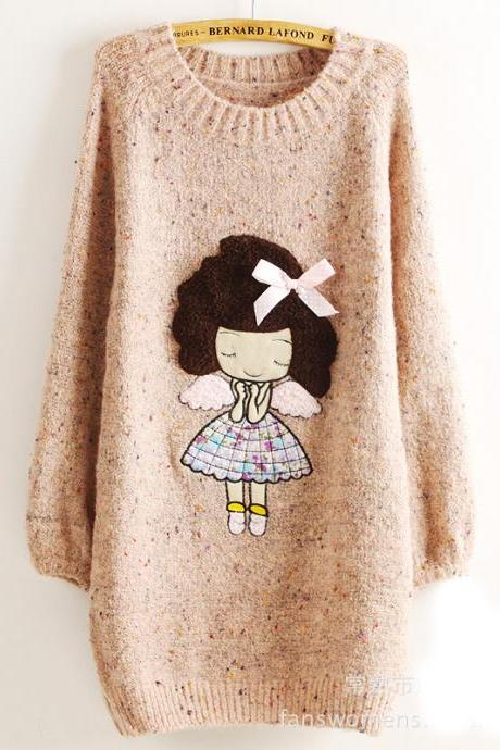 Cute Little Girl Pattern Loose Round Neck Batwing Sleeve Sweater - Pink