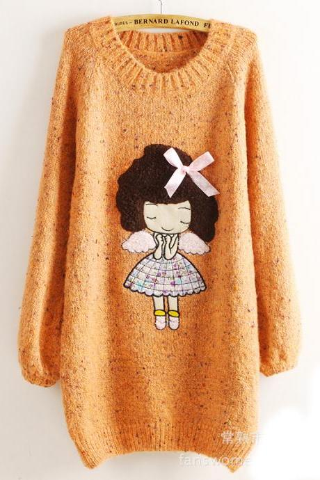 Cute Little Girl Pattern Loose Round Neck Batwing Sleeve Sweater - Orange
