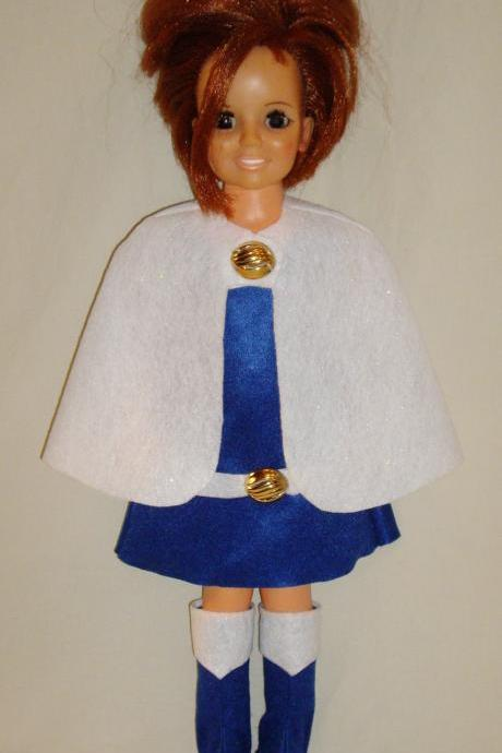 Ideal Crissy Doll Clothes, Handmade Felt Winter Wonderland Outfit