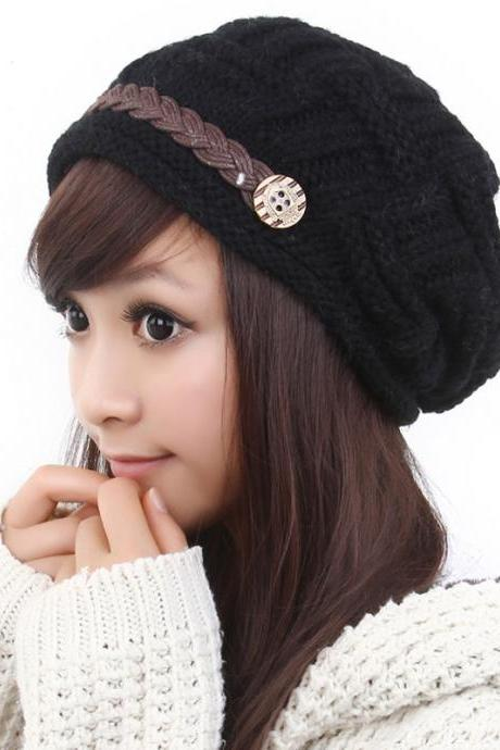 Free shipping Fashion Slouchy Knitted Hat Cap For Women - Black