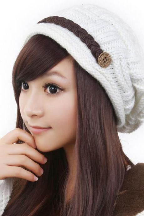 Free shipping Fashion Slouchy Knitted Hat Cap For Women - White