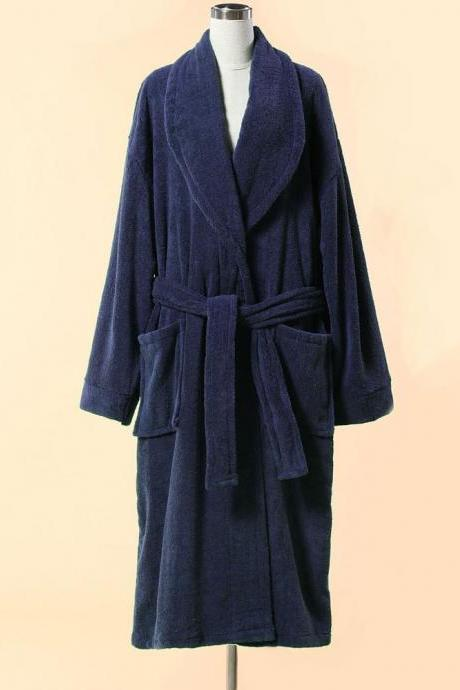 Extra Thick Blue Terry Bathrobe - 100% Cotton Shawl Collar Terry Cloth Bathrobe