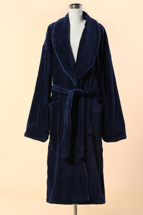Extra Thick Blue Velour Bathrobe - Shawl Collar Cotton Bathrobe with Piping