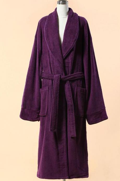 Extra Thick Purple Velour Bathrobe - Shawl Collar Cotton Bathrobe with Piping
