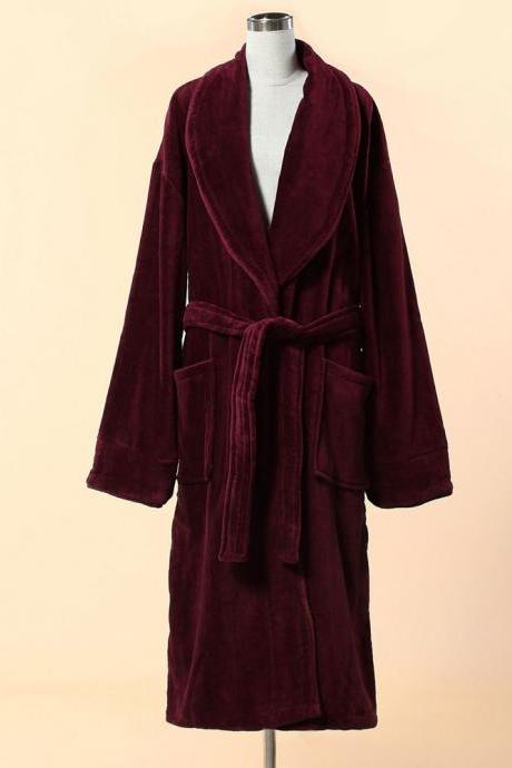 Extra Thick Red Velour Bathrobe - Shawl Collar Cotton Bathrobe with Piping