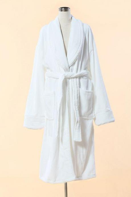 Extra Thick White Velour Bathrobe - Shawl Collar Cotton Bathrobe with Piping