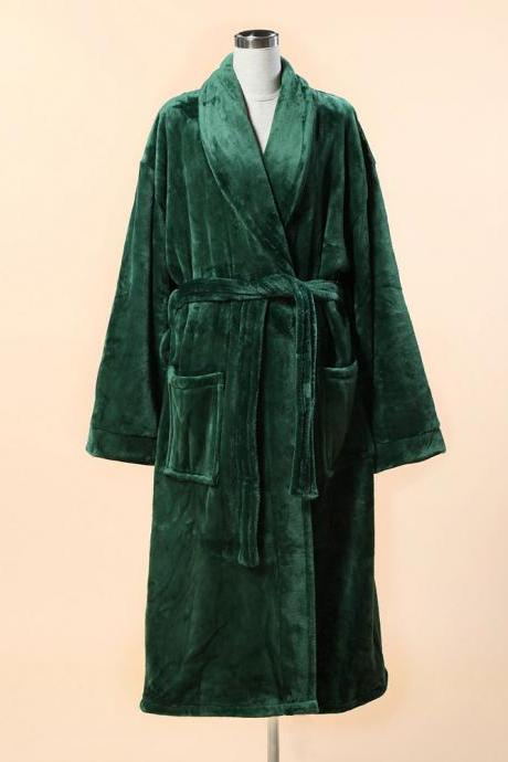 Extra Thick Micro Fiber Bathrobe - Soft Fleece Bathrobe w. Shawl Collar - Green Fleece Bathrobe