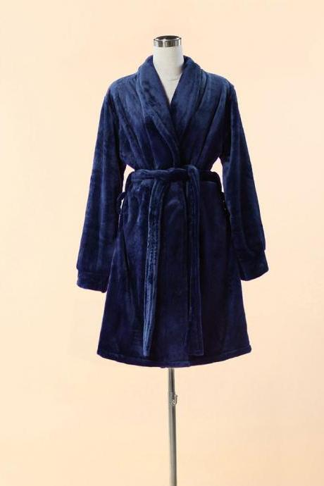 Extra Thick & Soft Bathrobe - Short Blue Bathrobe
