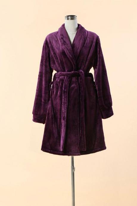 Extra Thick & Soft Bathrobe - Short Purple Bathrobe