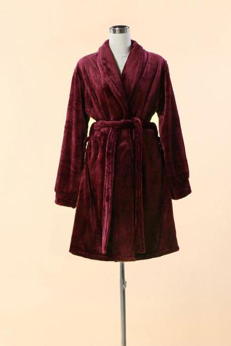 Extra Thick & Soft Bathrobe - Short Red Bathrobe