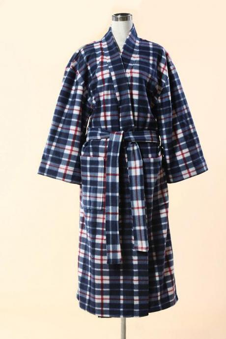 Blue Checkered Kimono Bathrobe - Flannel Fleece Kimono Bathrobe