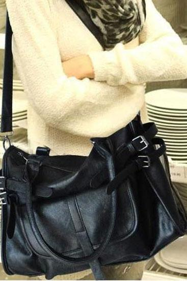 Elegant Black Belt Handbag&Shoulder Bag
