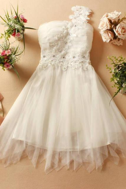 Cute One-Shoulder Diamond Mini Evening Party Prom Bridesmaid Wedding Dress - White