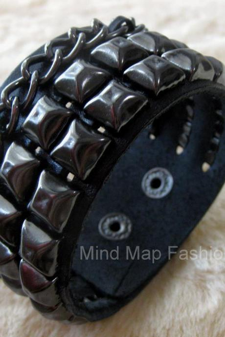 Wide Leather Punk Rock Square Rivet Studs & Chain Bracelet Wristband Bangle