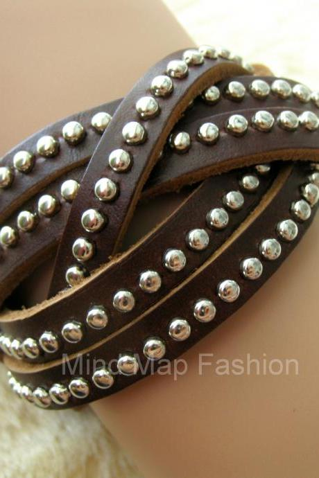 Round Stud Rivet Weave Multi Wrap Leather Snap Bracelet Dark Brown For Women & Men