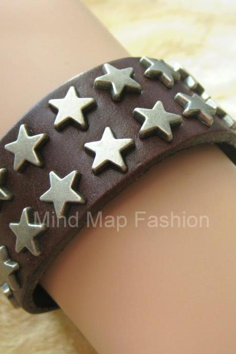 Punk Rock Star Stud Rivet Leather Snap Bracelet Dark Brown For Women & Men